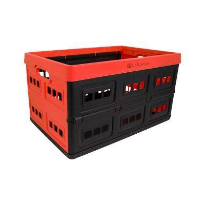 Foldable 48 Qt. Perforated Storage Crate in Red/Black