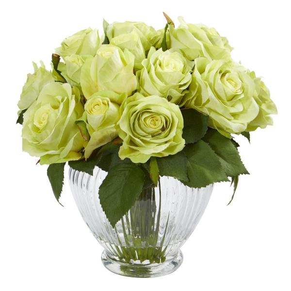 Nearly Natural 9 in. High Green Roses Artificial Floral Arrangement in Elegant Glass Vase