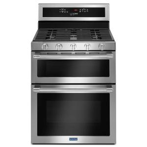 Maytag 30 inch 6.0 cu. ft. Double Oven Gas Range with True Convection Oven in Fingerprint Resistant Stainless Steel by Maytag