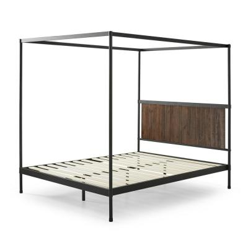 Wesley Brown Metal and Wood Queen Canopy Platform Bed