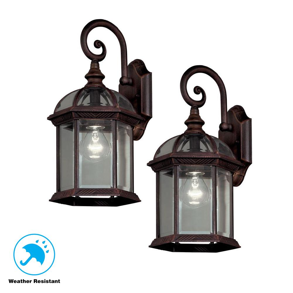 Hampton Bay Twin Pack 1 Light Weathered Bronze Outdoor Lantern