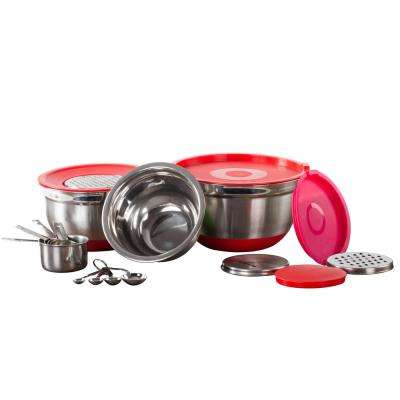 17-Piece Mixing Bowl Set With Lids, Grater, Measuring Cups and Spoons Red