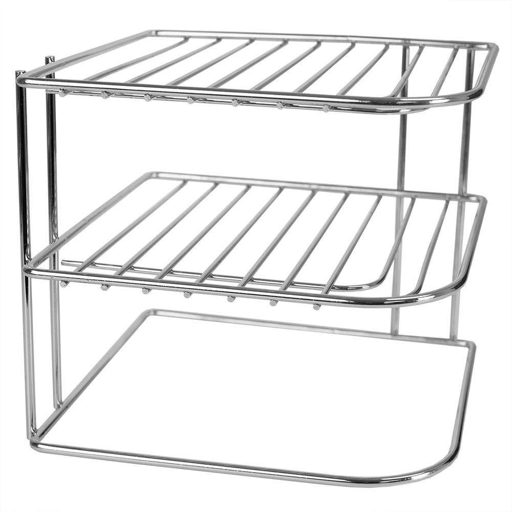 3-Tier Chrome Plated Steel Corner Organizing Storage Rack in Chrome