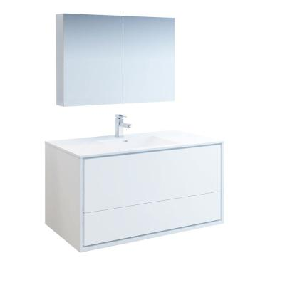 Catania 48 in. Modern Wall Hung Vanity in Glossy White with Vanity Top in White with White Basin and Medicine Cabinet