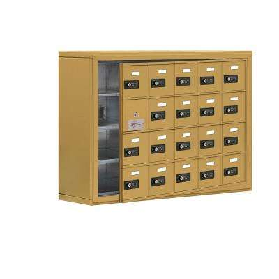 19100 Series 37 in. W x 25.5 in. H x 9.25 in. D 19 Doors Cell Phone Locker Surface Mount Resettable Lock in Gold