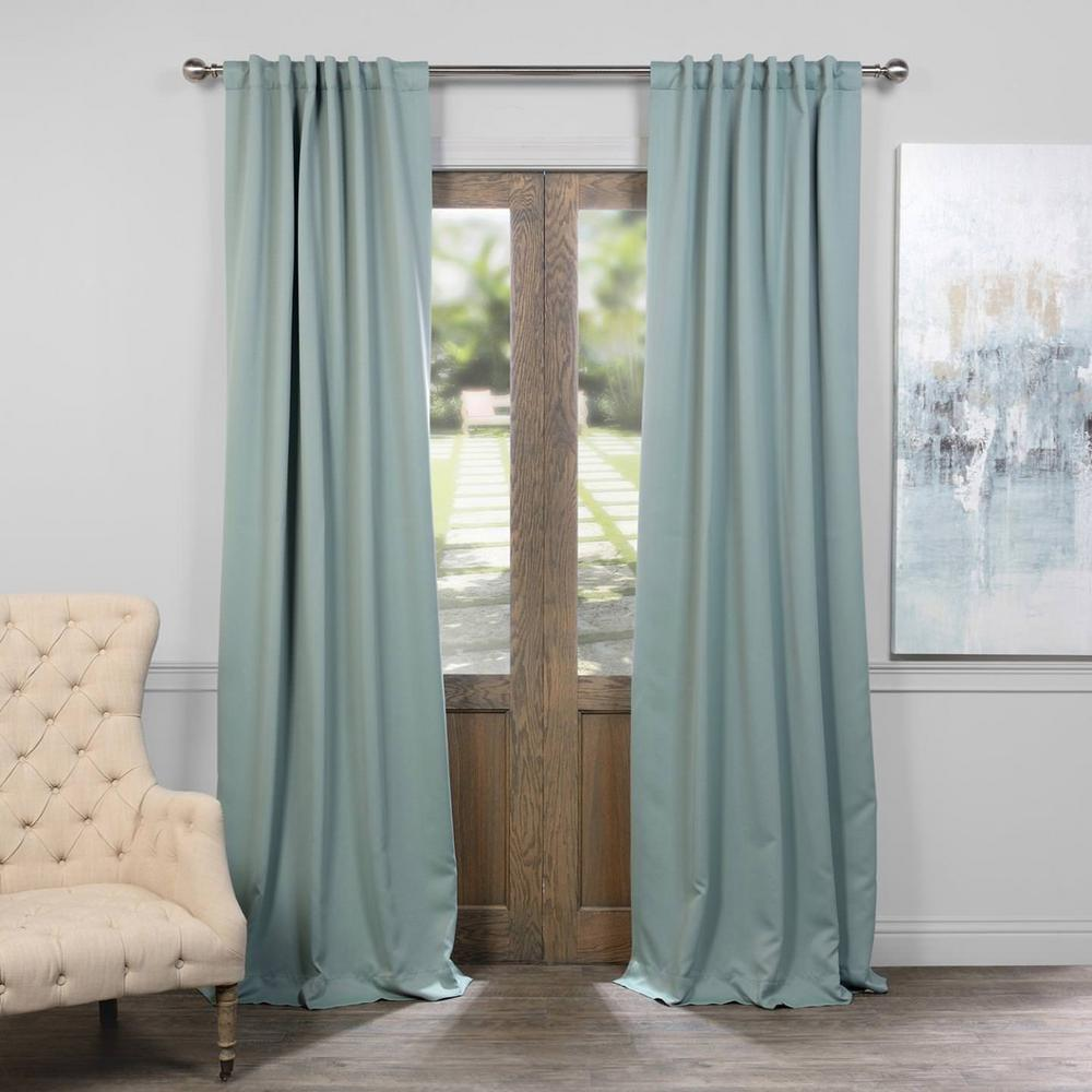 Exclusive Fabrics Furnishings Semi Opaque Juniper Berry Green Blackout Curtain 50 In W X 96 L Panel Boch 164712 The Home Depot