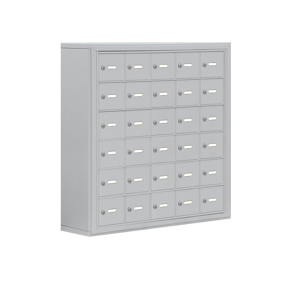 Salsbury Industries 19000 Series 37 in. W x 36.5 in. H x 9.25 in. D 30 A Doors S-Mount Keyed Locks Cell Phone Locker in Aluminum