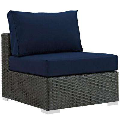 Sojourn Patio Fabric Sunbrella Wicker Armless Middle Outdoor Sectional Chair with Canvas Navy Cushions