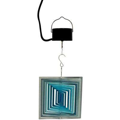 3D Ice Blue Square 6 in. Wind Spinner with Electric-Operated Motor