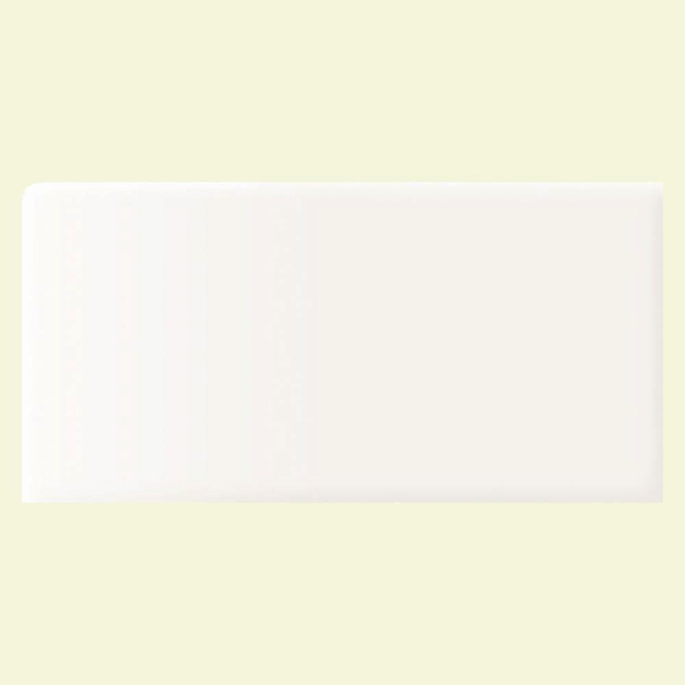 Daltile Rittenhouse Square Arctic White 3 in. x 6 in. Ceramic Bullnose Wall Tile