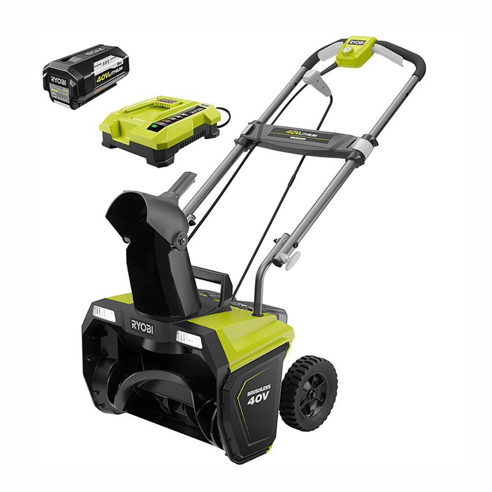 Best Battery Blowers 2020 RYOBI 20 in. 40 Volt Brushless Cordless Electric Snow Blower with