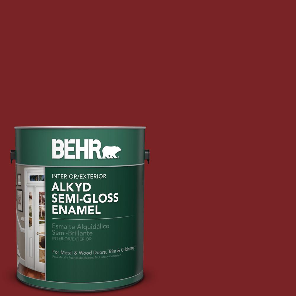 1 gal. #SC-112 Barn Red Semi-Gloss Enamel Alkyd Interior/Exterior Paint