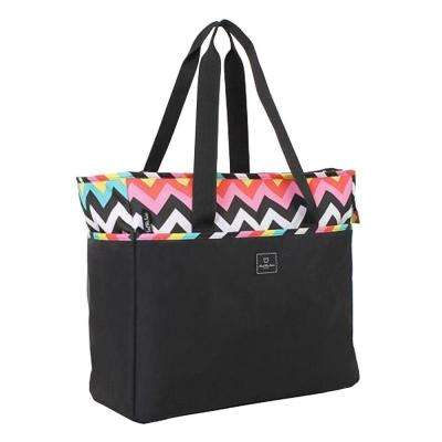 18 in. Chevron Weekender Tote in Black/Les Plages