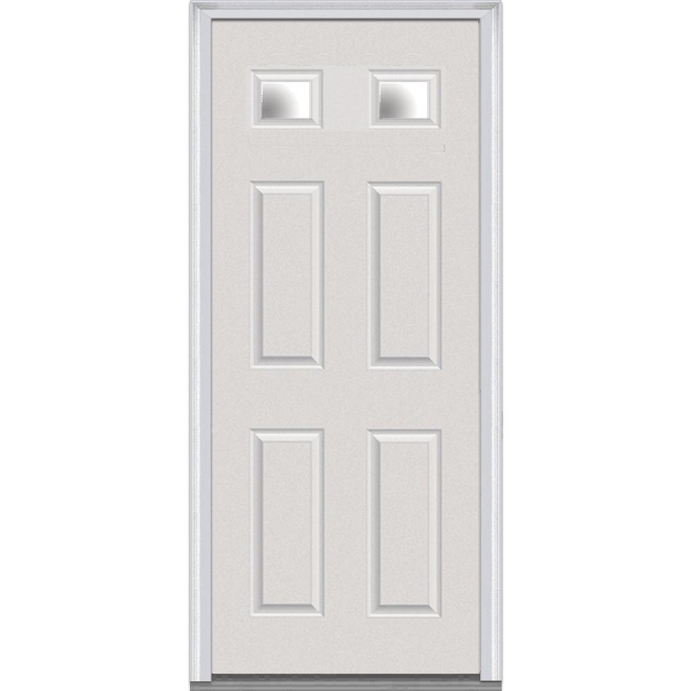36 in. x 80 in. Left-Hand Inswing 2-Lite Clear 4-Panel Classic Primed Fiberglass Smooth Prehung Front Door