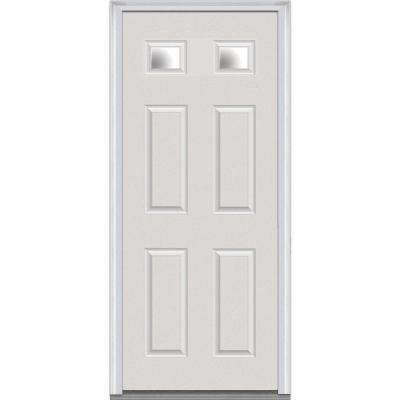 36 in. x 80 in. Right-Hand Inswing 2 Lite Clear 4-Panel Classic Primed Fiberglass Smooth Prehung Front Door