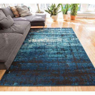 Sydney Vintage Crosby Blue 5 ft. x 7 ft. Modern Distressed Area Rug