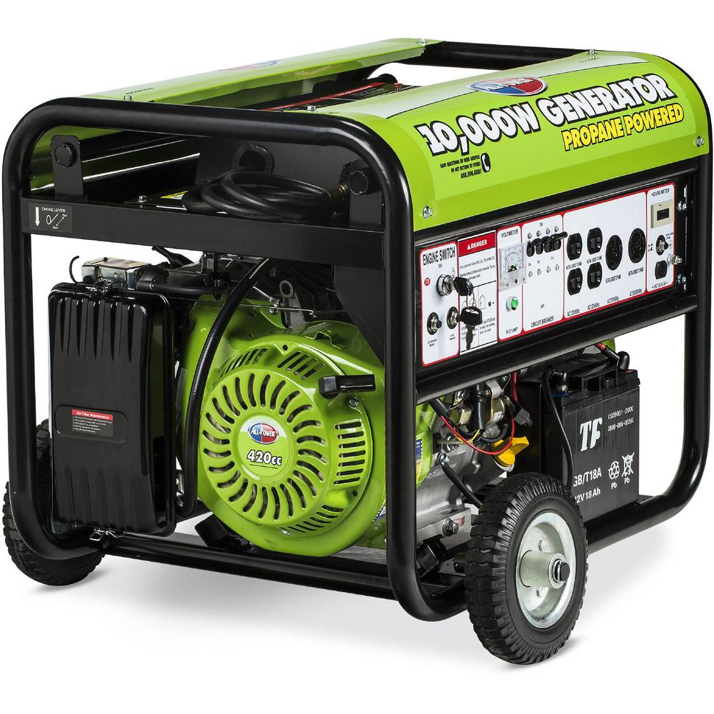 All Power 10000-Watt Propane Gasoline Powered Electric Start Portable  Generator with Mobility Kit