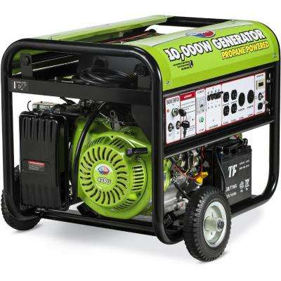 10000-Watt Propane Gasoline Powered Electric Start Portable Generator with Mobility Kit