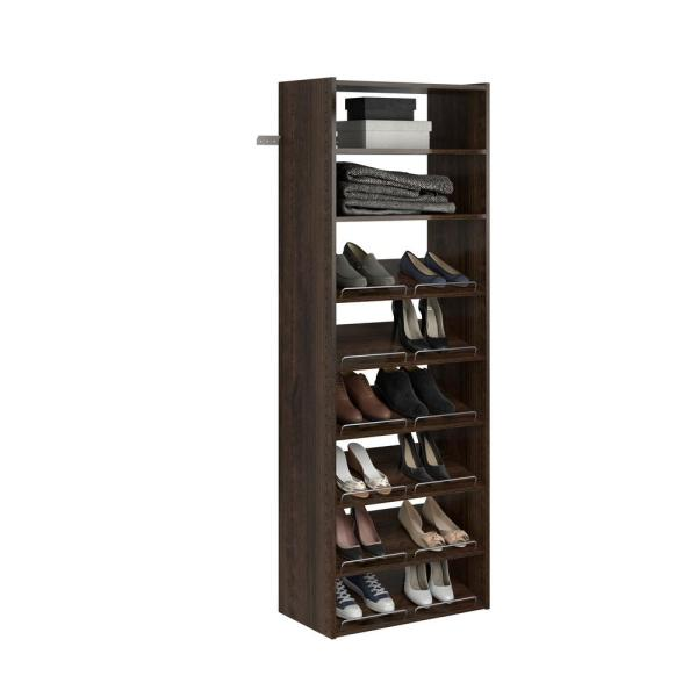 Essential Shoe 25 in. W Espresso Wood Closet Tower