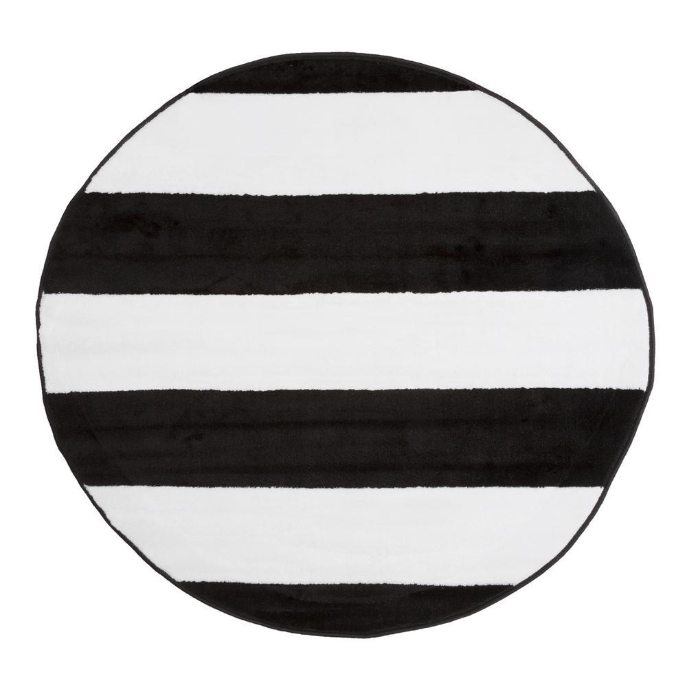 brenton stripe black and white 5 ft x 5 ft round area. Black Bedroom Furniture Sets. Home Design Ideas