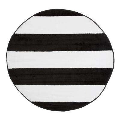 Brenton Stripe Black and White 5 ft. x 5 ft. Round Area Rug