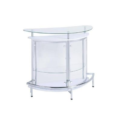 White, Chrome and Clear Home Bar Unit with Acrylic Front
