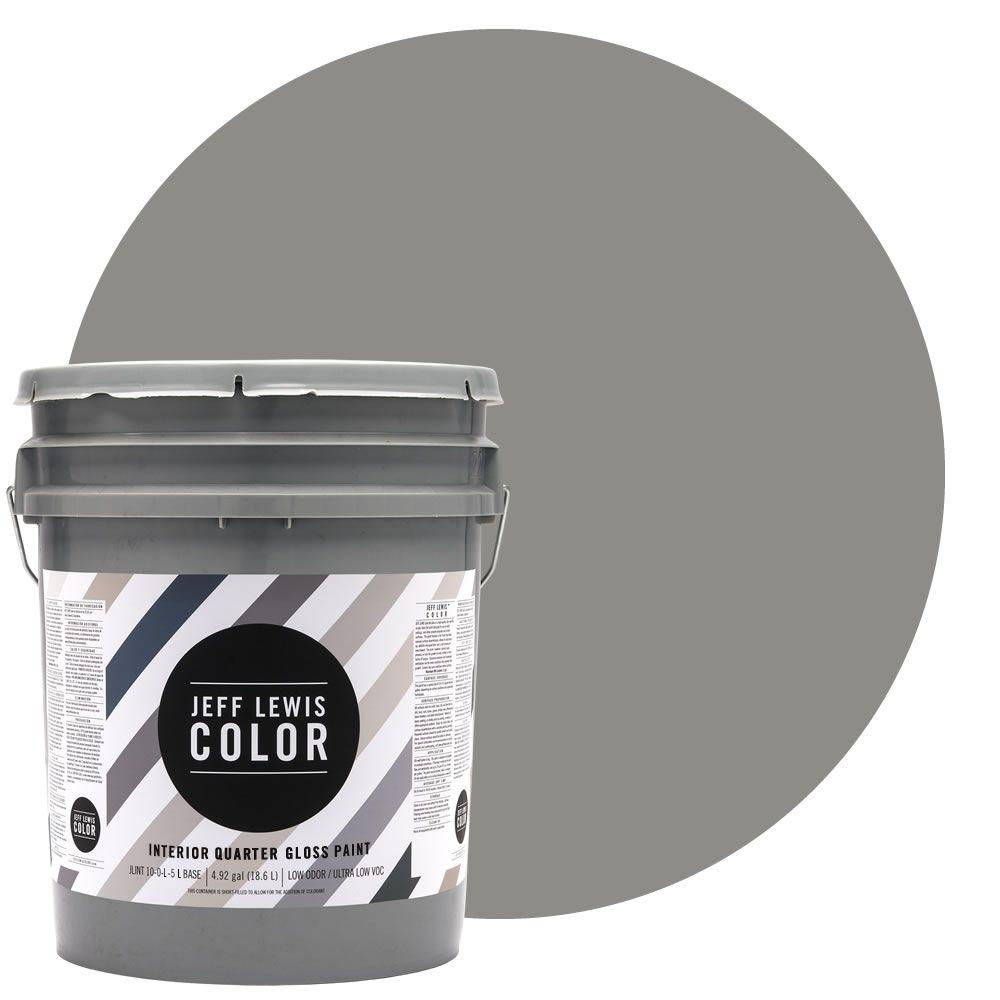 Jeff Lewis Color 5-gal. #JLC415 Gray Geese Quarter-Gloss Ultra-Low VOC Interior Paint