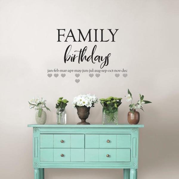 Wall Pops Black Family Birthdays Wall Quote Decal DWPQ2842