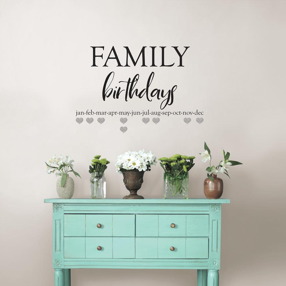 Black Family Birthdays Wall Quote Decal