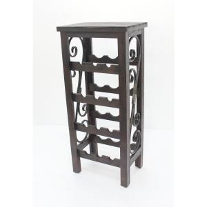 Brown Wood End Table with Wine Rack by