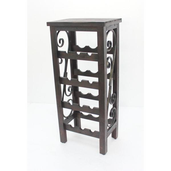 Brown Wood End Table with Wine Rack