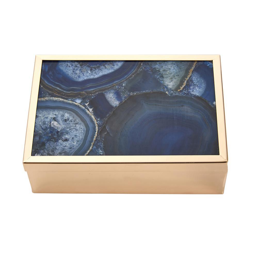 Blue Gold Agate Top Box