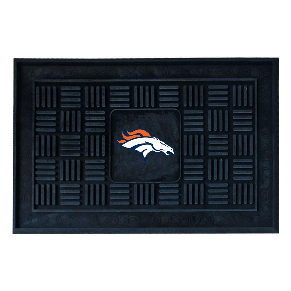 NFL Denver Broncos Black 19 in. x 30 in. Vinyl Outdoor Door Mat