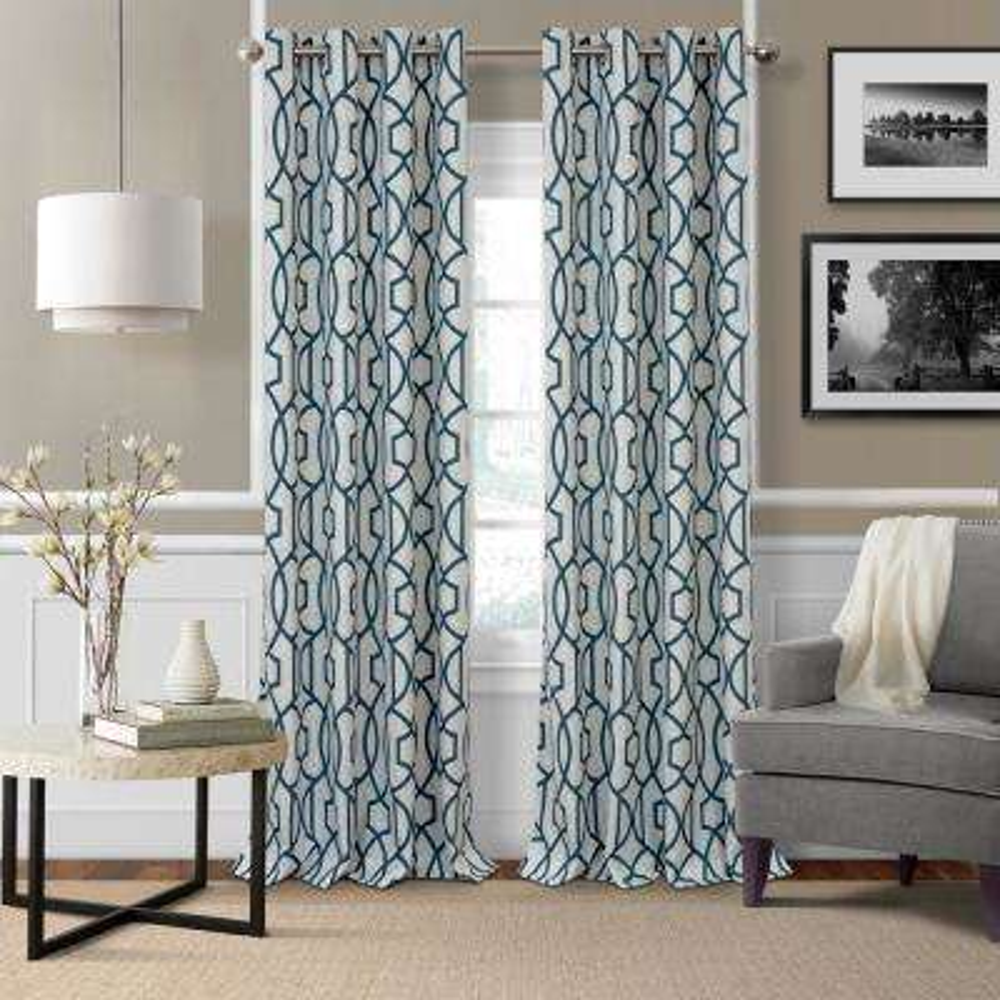 Celeste 52 in. W x 84 in. L Polyester Single Blackout Window Curtain Panel in Blue