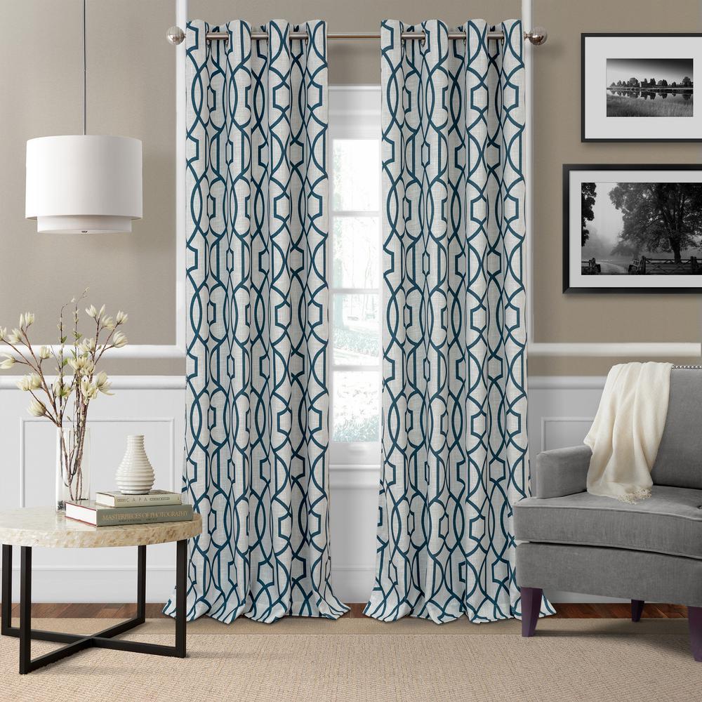 Celeste 52 in. W x 95 in. L Polyester Single Blackout Window Curtain Panel in Blue