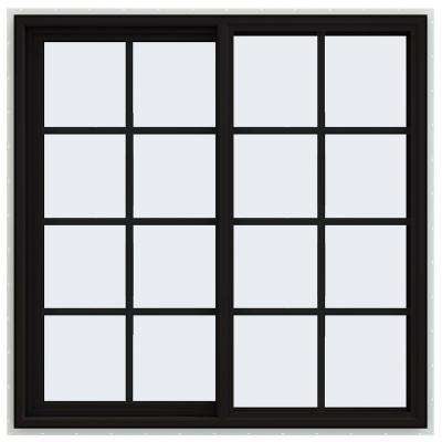 48 in. x 48 in. V-4500 Series Black FiniShield Vinyl Left-Handed Sliding Window with Colonial Grids/Grilles