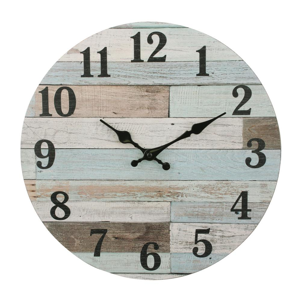 Stonebriar Collection Coastal Worn Blue And White Wooden Wall Clock