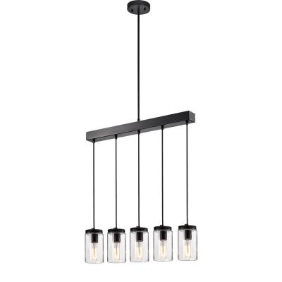Nando 5-Light Matte Black Chandelier with Clear Glass Jar Shade