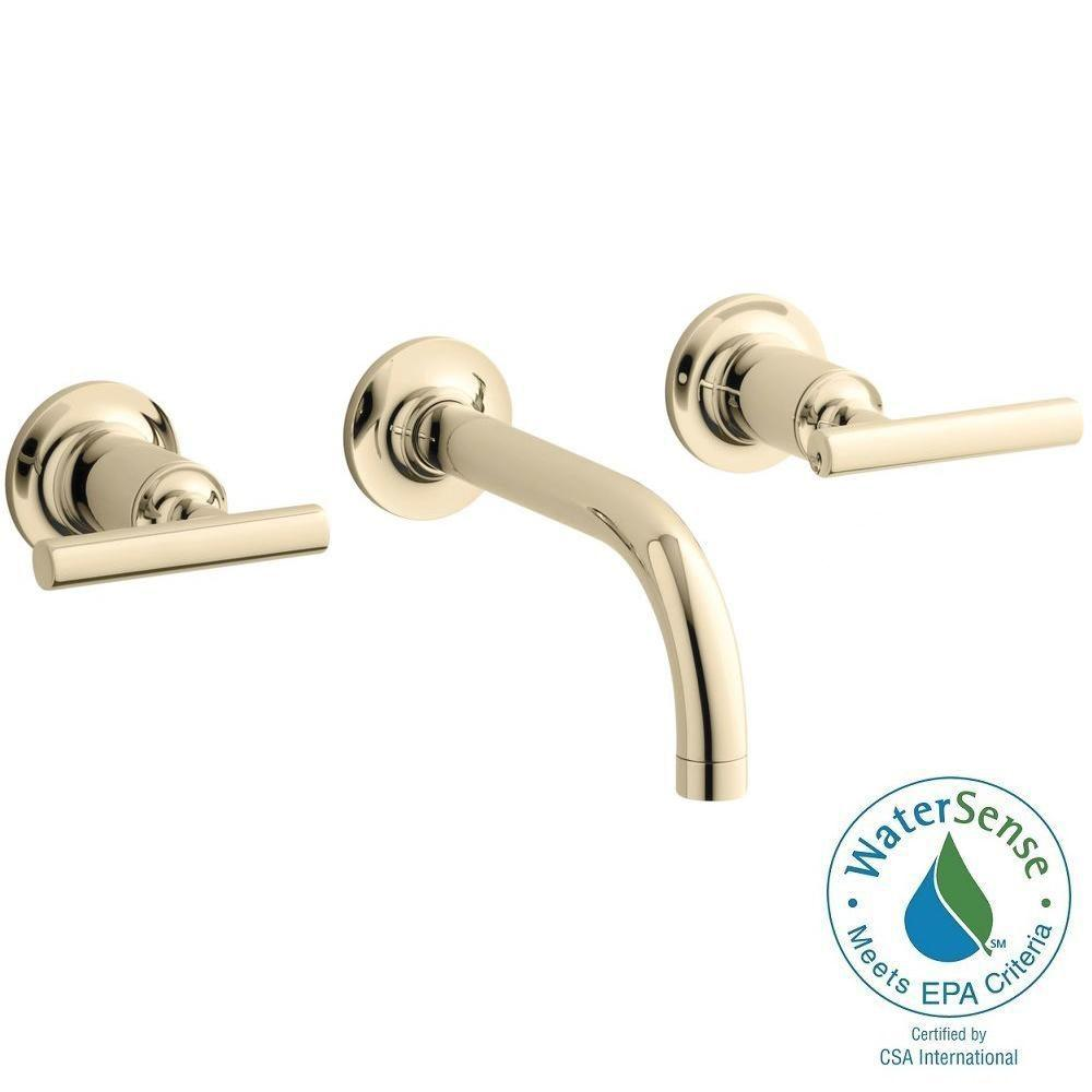 KOHLER Purist Wall-Mount 2-Handle Bathroom Faucet Trim Kit in Vibrant French Gold (Valve not Included)