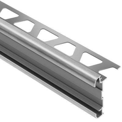 Rondec-CT Brushed Chrome Anodized Aluminum 1/2 in. x 8 ft. 2-1/2 in. Metal Double-Rail Bullnose Tile Edging Trim