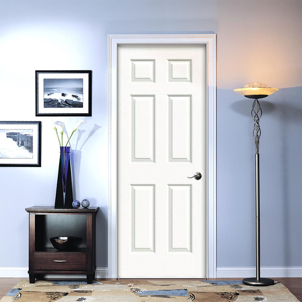 30 in. x 80 in. Colonist Primed Left-Hand Textured Molded Composite MDF Single Prehung Interior Door