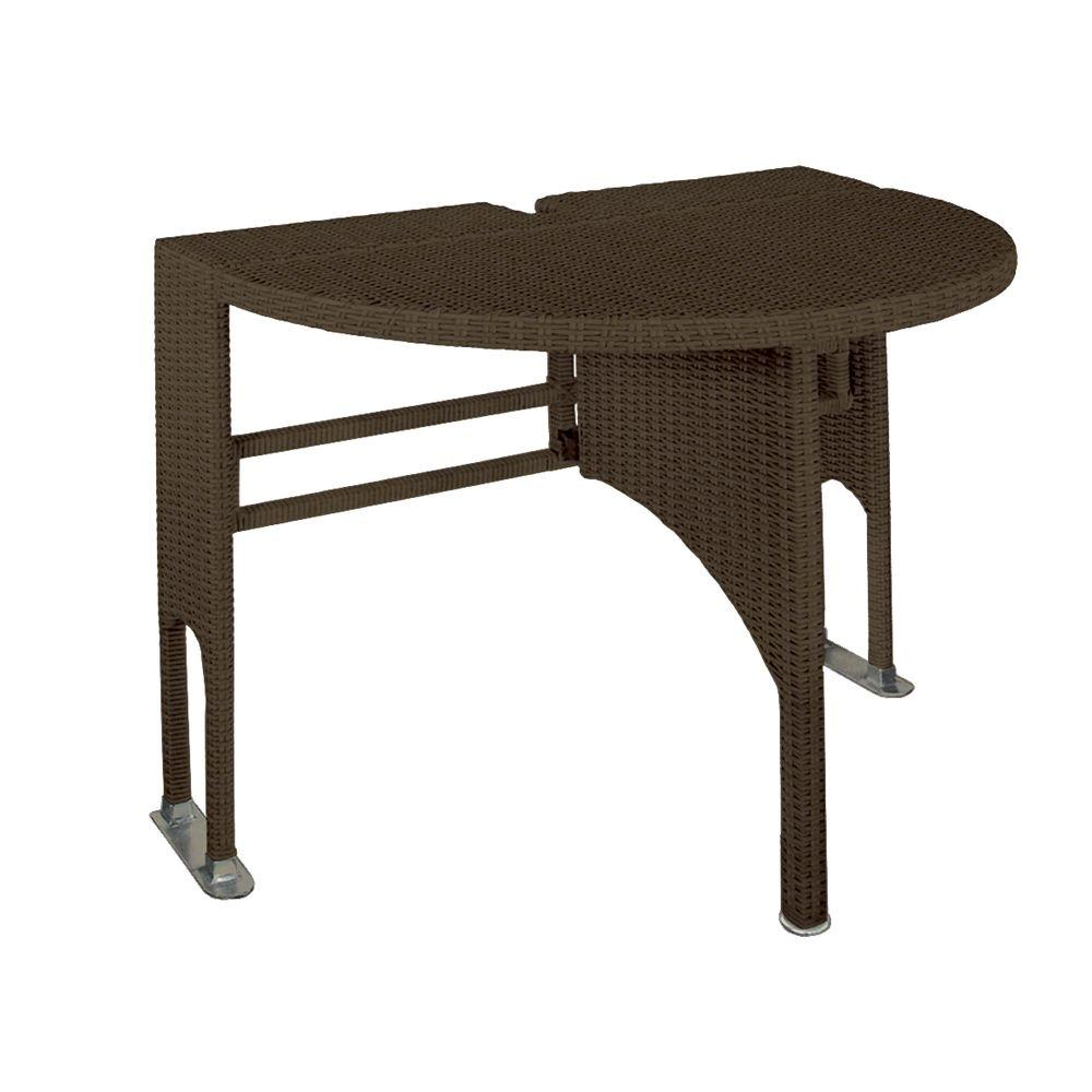 Blue Star Group Genevieve Java Half-Oval Gate-Leg Patio Terrace Mates Table