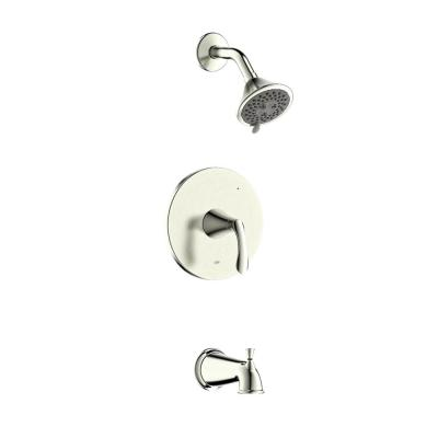 Arts et Metiers Single Handle 3-Spray Regular, Massage Tub and Shower Faucet with Rough-In Valve in Brushed Nickel