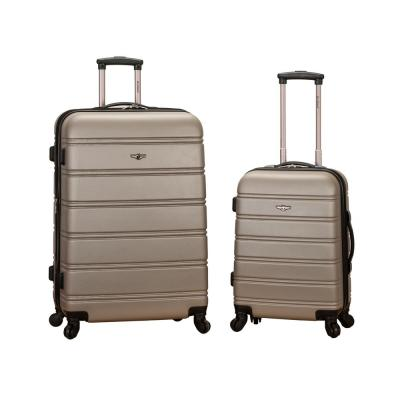Rockland Melbourne Expandable 2-Piece Hardside Spinner Luggage Set, Silver