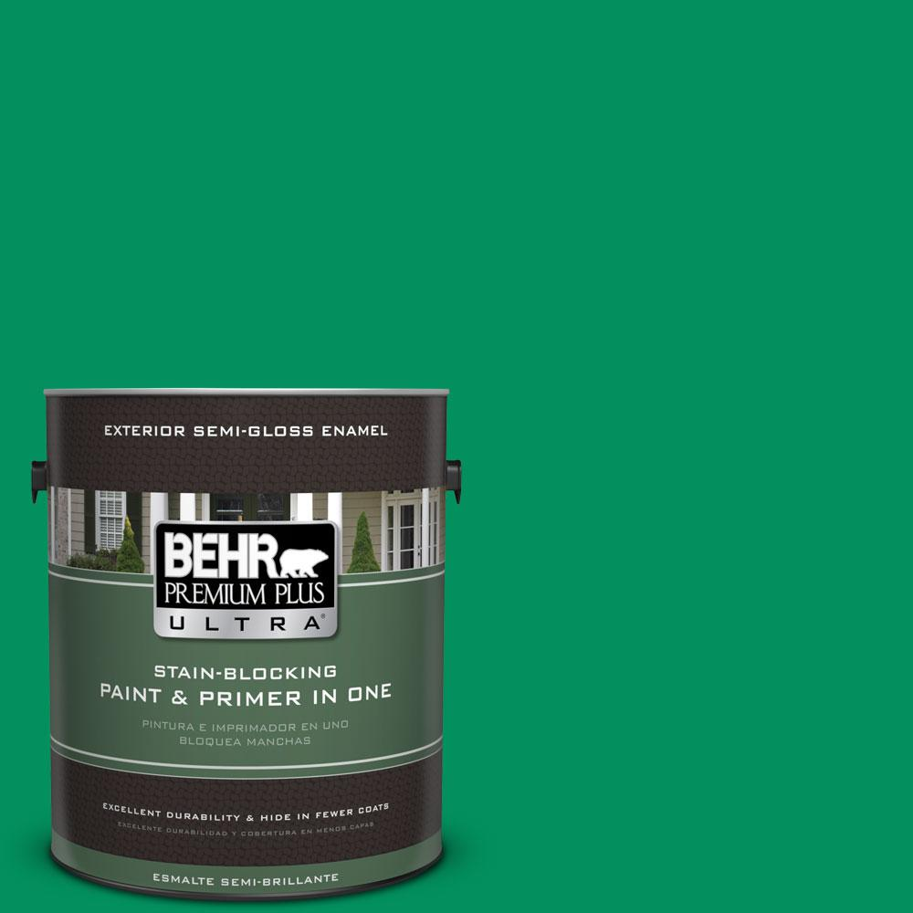 BEHR Premium Plus Ultra 1-gal. #470B-6 Emerald Lake Semi-Gloss Enamel Exterior Paint