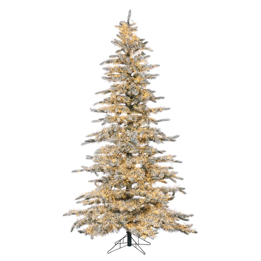 Pre Lit Led Lights Christmas Tree: STERLING 7.5 Ft. Pre-Lit LED Flocked Wyoming Snow Pine