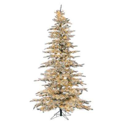 7.5 ft. Pre-Lit LED Flocked Wyoming Snow Pine Artificial Christmas Tree with Micro Lights