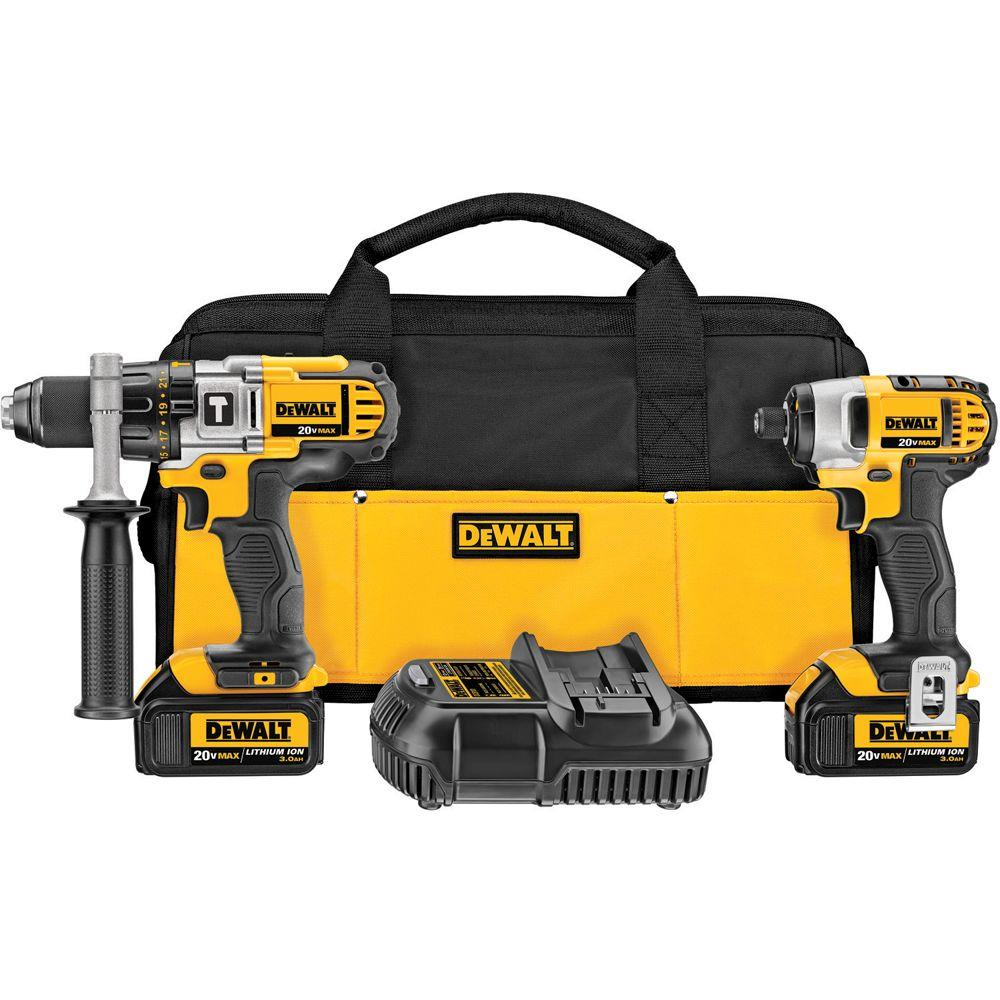 DEWALT 20-Volt MAX Lithium-Ion Cordless Hammer Drill/Impact Driver Combo Kit (2-Tool) with (2) Batteries 3.0Ah, Charger and Bag
