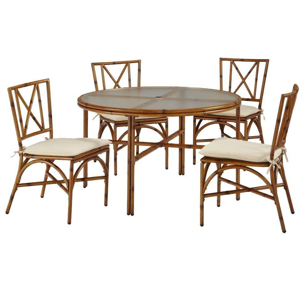 Home Styles Bimini Jim Natural Bamboo 5-Piece Patio Dining Set with Cream Cushions
