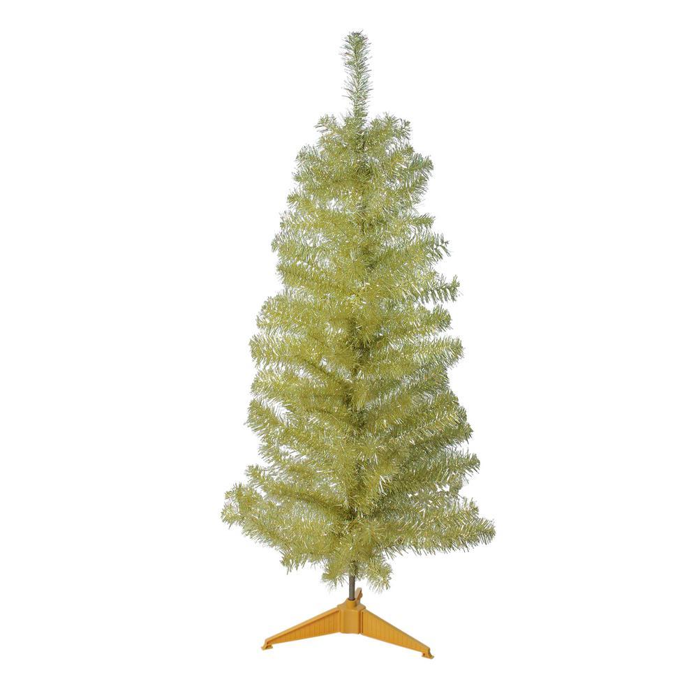 Unlit Gold Tinsel Medium Artificial Christmas Tree